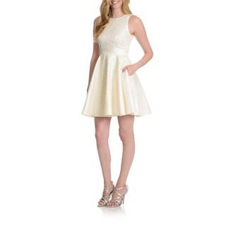 Joanna Chen New York Women's Jewel Neckline Fit and Flare Dress