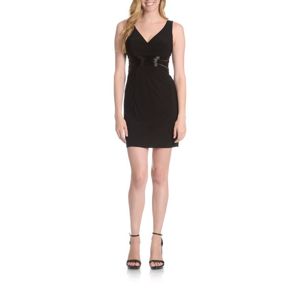 Joanna Chen New York Women's Beaded Illusion-Bodice V-Neck Dress