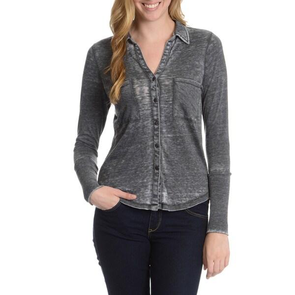 Alternative Women's Everyday Burnout Button Up Shirt 15793515
