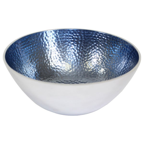 Round Hammered Aluminum Blue Bowls (Set of 3)