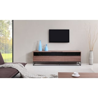 B-Modern Publicist Light Walnut/ Black Modern IR TV Stand