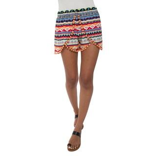 White Mark Women's Printed Pom Pom Shorts