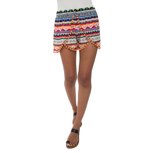 Women's Printed Pom Pom Shorts