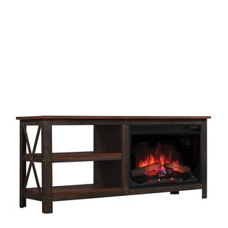 Grainger 26-inch Classic Flame Indoor Fireplace Media Mantel in Old World Brown