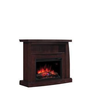 Boomerang 26-inch Classic Flame Indoor Electric Fireplace With Dual Entertainment Center in a Midnight Cherry Finsih