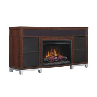 Roxbury 25-inch Classic Flame Electric Indoor Fireplace Media Mantel in High Gloss Cherry