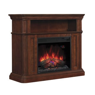 Oakfield 23-inch Indoor Electric Fireplace with Dual Mantel in Premium Pecan Birch