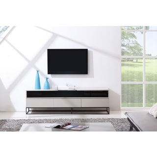B-Modern Publicist High-Gloss Cream/ Black Modern IR TV Stand