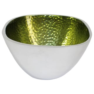 Hammered Aluminum Green Square Bowls (Set of 3)