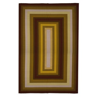 Contemporary Gold, Rust, Brown, Red Stripe Area Rug (5' x 8')