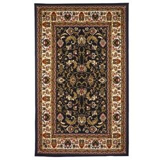 Oriental Floral Black, Brown Area Rug (5' x 8')