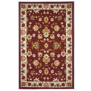 Oriental Floral, Red, Beige Area Rug (8'x10')