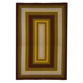 Contemporary Brown, Burgundy, Beige Area Rug (8'x10')