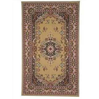 Oriental Floral Camel, Tan, Red Area Rug (8'x10')