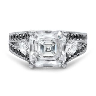 Noori 14k White Gold 1ct TDW Black Diamond and Asscher Moissanite Ring (G-H, SI1-SI2)