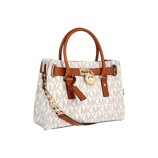 MICHAEL Michael Kors Hamilton Saffiano Leather East West Vanilla Satchel