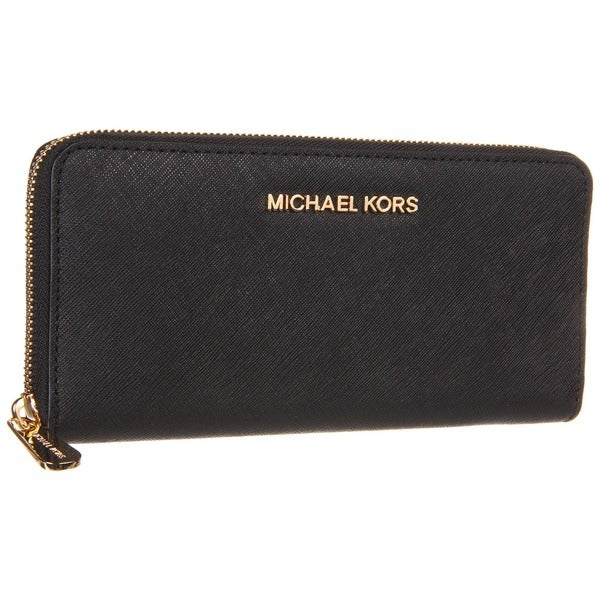 MICHAEL Michael Kors Jet Set Leather Black Continental Travel Wallet
