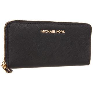 MICHAEL Michael Kors Jet Set Leather Black Continental Travel Wallet