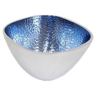 Hammered Aluminum Square Blue Bowls (Set of 3)