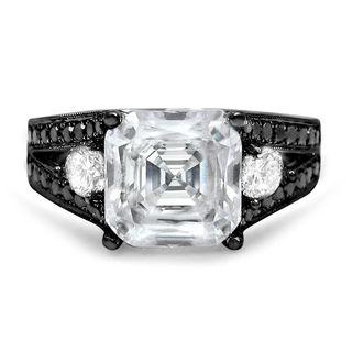 Noori 14k Black Gold 1ct TDW Black Diamond and Asscher-cut Moissanite Ring (G-H, SI1-SI2)