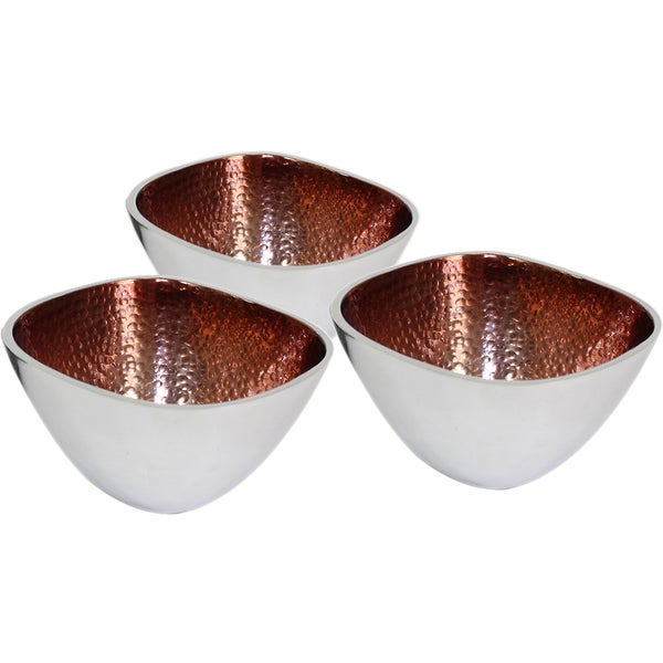 Hammered Aluminum Square Brown Bowls (Set of 3)