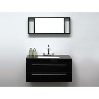 Beliani Modern Barcelona Black Bathroom Vanity with Sink, Cabinet and Mirror
