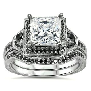 Noori 14k White Gold 2/5ct TDW Black Diamond and Moissanite Engagement Ring Set (G-H, SI1-SI2)