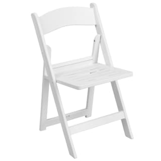 Daisy White Resin Folding Chairs with Slatted Seat