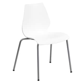 Iris White Contoured Modern Design Stack Chairs