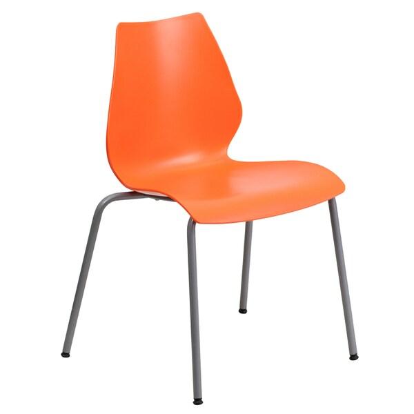 Iris Orange Contoured Modern Design Stack Chairs
