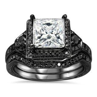 Noori 14k Black Gold 2/5ct TDW Black Diamond and Moissanite Engagement Ring Set (G-H, SI1-SI2)