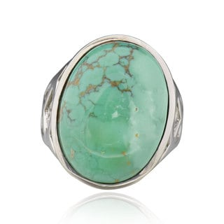 Sterling Silver Oval Turquoise Solitaire Ring (China)