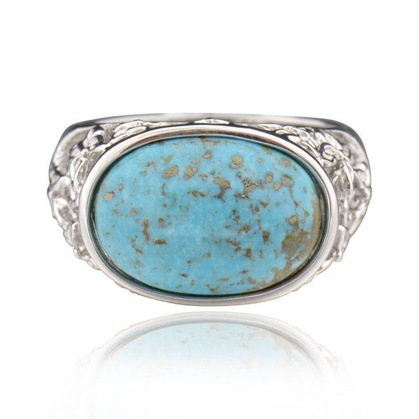 Sterling Silver Oval Turquoise Butterfly Ring (China)