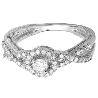 14k White Gold 1/2ct TDW Diamond Swirl Split Shank Bridal Ring (H-I, I1-I2)