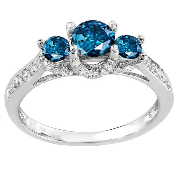 14k White Gold 1ct TDW Blue And White Diamond 3 Stone Engagement Ring