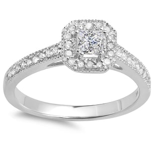14k Gold 1/2ct TDW Princess and Round Diamond Halo Engagement Ring (I-J, I1-I2)