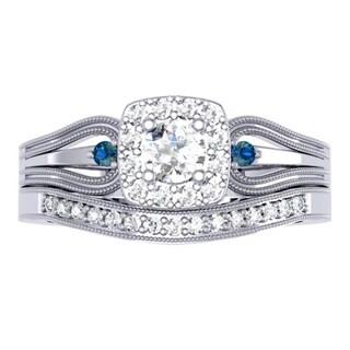 10k White Gold 1/2ct TDW Round White and Blue Diamond Halo Bridal Ring Set (I-J,I1-I2)