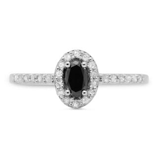 14k White Gold 1/2ct TDW Oval-cut Black and Round White Diamond Halo Engagement Ring (H-I,I1-I2)