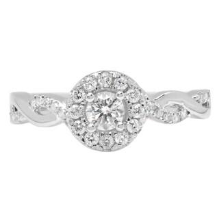 14k White Gold 3/5ct TDW Round-cut Diamond Swirl Halo Engagement Ring (H-I, I1-I2)