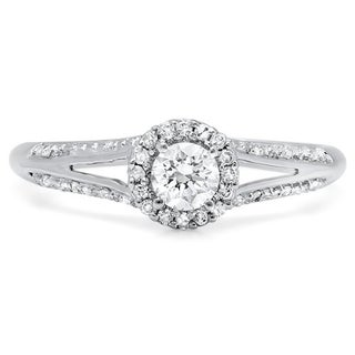 14k White Gold 1/2ct TDW Round Diamond Halo Split Shank Engagement Ring (I-J ,I1-I2)