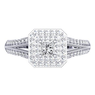 14k White Gold 1/2ct TDW Princess and Round-cut Diamond Split Shank Halo Engagement Ring (I-J ,I1-I2)