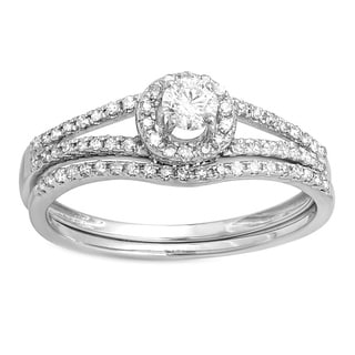 14k White Gold 1/2ct TDW Round Diamond Halo Bridal Ring Set (H-I, I1-I2)