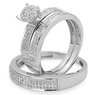 Sterling Silver 1/3ct TDW Micropave Diamond His and Hers Matching Wedding Band Set (I-J ,I2-I3)