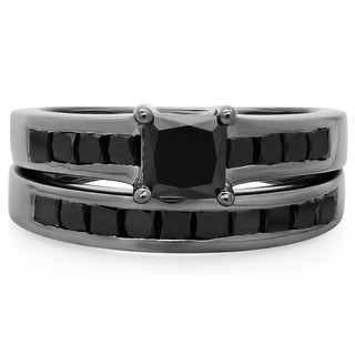 Black Rhodium-plated Sterling Silver 2 3/5ct TDW Princess-cut Black Diamond Bridal Ring Set