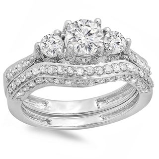 14k White Gold 1 3/4ct TDW Round Diamond Vintage 3-stone Bridal Ring Set (J-K ,I1-I2)