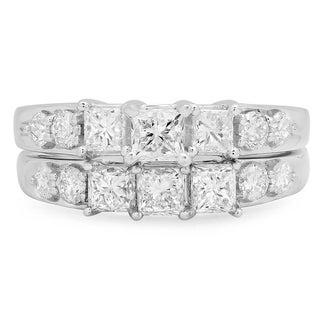 14k White Gold 2ct TDW Princess and Round Diamond 3-stone Bridal Ring Set (J-K, I1-I2)