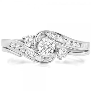 10k White Gold 1/2ct TDW Round Diamond Swirl Bridal Ring Set (I-J ,I1-I2)