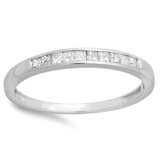 10k White Gold 1/5ct TDW Princess-cut Diamond Anniversary Wedding Stackable Band (I-J, I2-I3)