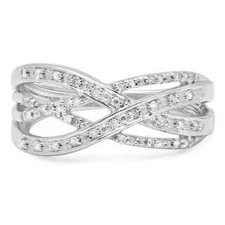 Sterling Silver 1/4ct TDW Round Diamond Cross-over Ring (I-J ,I2-I3)