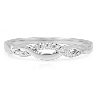 10k White Gold 1/10ct TDW Round-cut Diamond Stackable Swirl Wedding Ring (I-J, I2-I3)